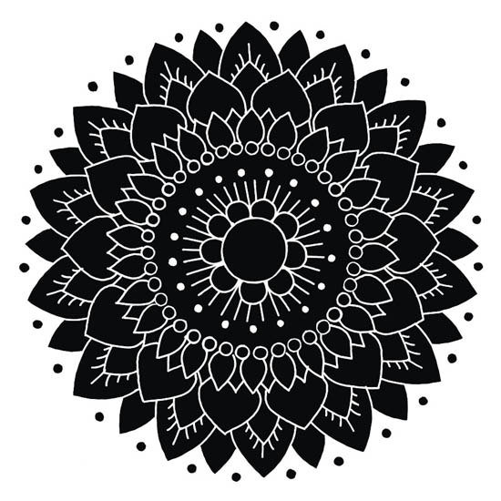 Kakeldekor, Lotus Svart/Vit 6 st