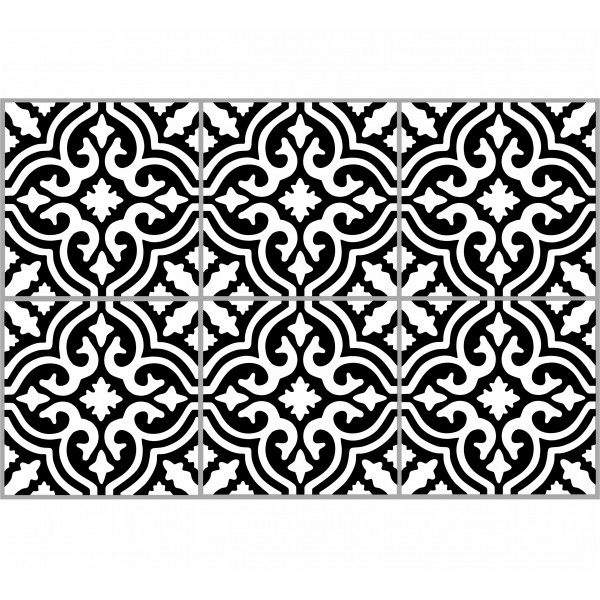 Kaakelitarra, Marrakech black/white 6 kpl