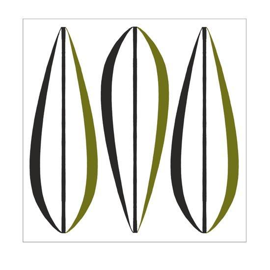 Kaakelitarra, Leaves Olive/Black 6 kpl