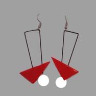 Örhängen Geometric, röd