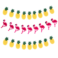 Flaggspel, flamingo & ananas