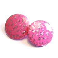 Örhängen Round, rosa/silver