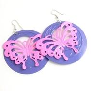 Örhängen, Fjäril lila och rosa