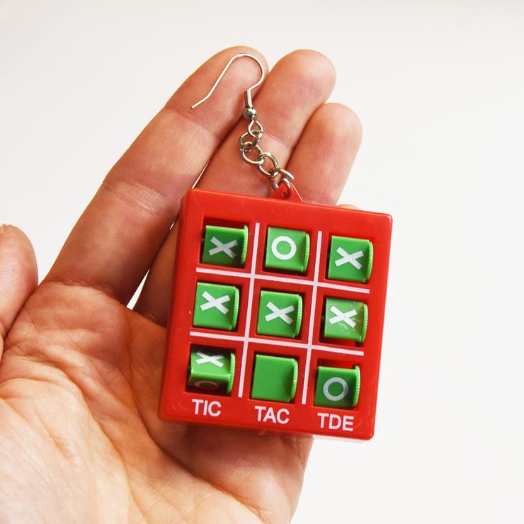 Örhänge Tic Tac Toe, Blågrön
