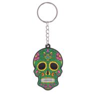 Nyckelring Sugar Skull, grön